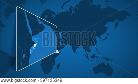 Location Of Somalia On The World Map With Enlarged Map Of Somalia With Flag. Geographical Vector Tem