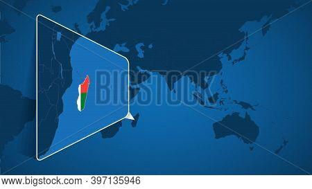 Location Of Madagascar On The World Map With Enlarged Map Of Madagascar With Flag. Geographical Vect