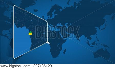 Location Of Gabon On The World Map With Enlarged Map Of Gabon With Flag. Geographical Vector Templat