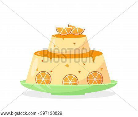 Orange Homemade Cake Or Pudding With Orange Slices Isolated On White Background. Fruit Sweet Dessert
