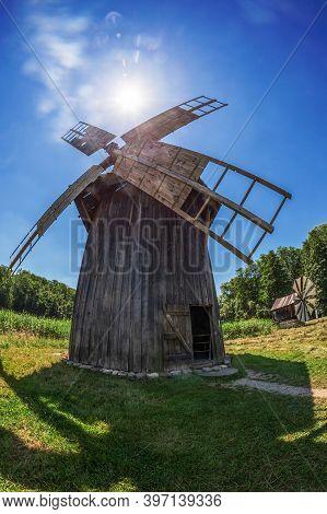 Sibiu, Romania - July 9,2020: Old Historic Windmill Specific For Village Bestepe, Tulcea Country. Lo