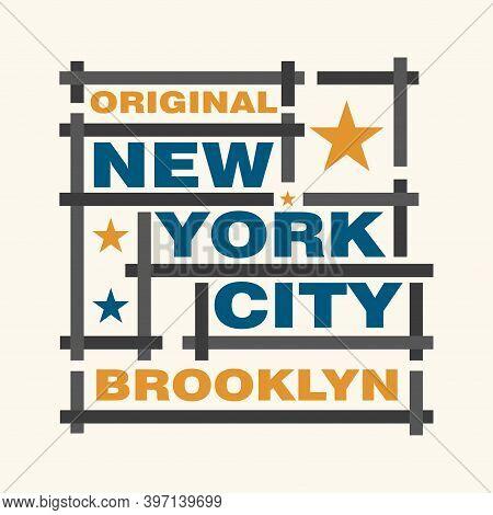New York Typography, Brooklyn Design Graphic, T-shirt Brooklyn Printing Man Nyc