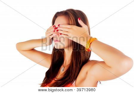 Woman covering eyes
