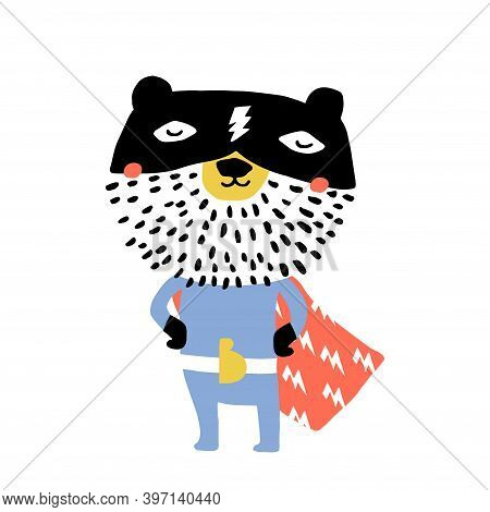 Cute Hand Drawn With Ink Bear Hero. Cartoon Super Hero Bear Vector Illustration In Scandinavian Styl