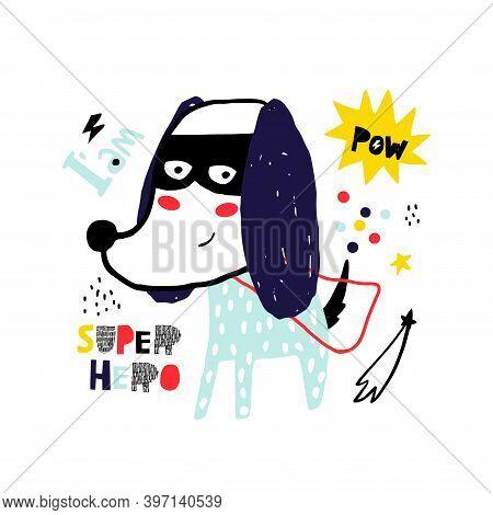 Cute Hand Drawn With Ink Dog Super Hero. Cartoon Super Hero Bear Illustration In Scandinavian Style.