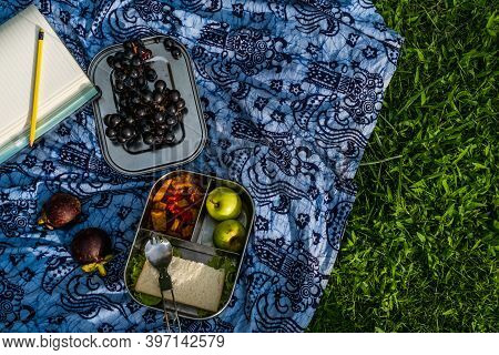 High Angle Of Picnic Set Outdoor. Healthy Takeaway Vegetarian Meal In Stainless Steel Lunch Box With