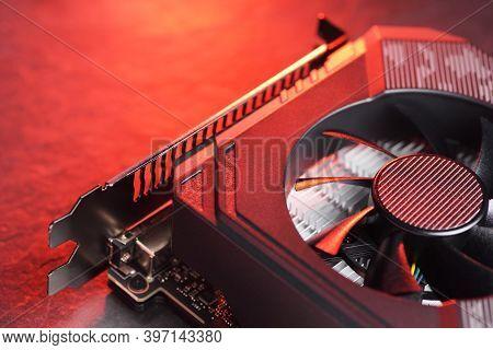 Computer Gaming Gpu Graphic Card With Fan Close-up Macro Shot.