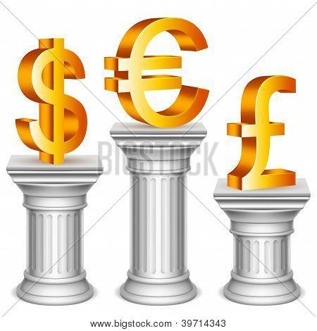Símbolos de moneda en el podio del deporte.