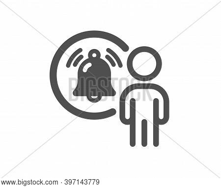 User Notification Icon. Alarm Bell Reminder Sign. Message Alert Symbol. Quality Design Element. Flat