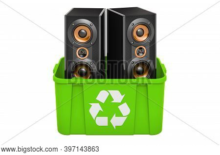 Recycling Trashcan With Musical Speakers, 3d Rendering Isolated On White Background
