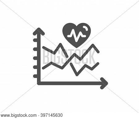 Cardio Training Chart Icon. Fat Burning Statistics Sign. Gym Fit Heartbeat Symbol. Quality Design El