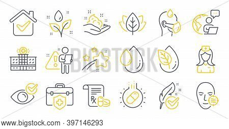 Set Of Healthcare Icons, Such As Organic Tested, Hospital Building, Capsule Pill Symbols. Organic Pr