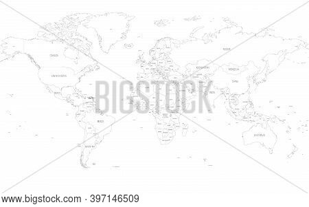 Map Of World. Detailed Thin Black Outline Political Map With Country Names. Vector Map.