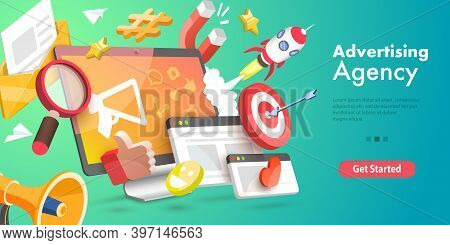3d Vector Conceptual Illustration Of Digital Marketing Agency.