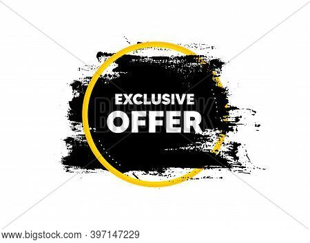 Exclusive Offer. Paint Brush Stroke In Circle Frame. Sale Price Sign. Advertising Discounts Symbol.
