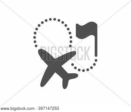 Destination Flag Icon. Goal Flight Travel Sign. Location Pin Symbol. Quality Design Element. Flat St