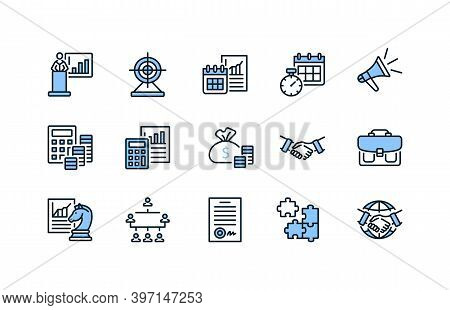 Business And Management Flat Line Icons Set Blue Color. Vector Illustration Component Parts For A Su