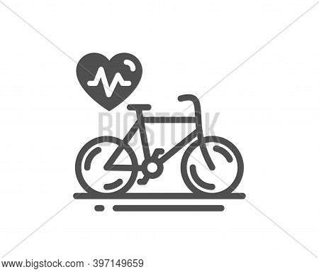 Cardio Bike Training Icon. Bicycle Exercise Sign. Gym Fit Heartbeat Symbol. Quality Design Element.