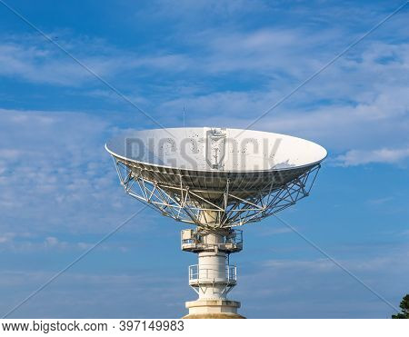 Cotes-d-armor, France - August 24, 2019: Space Telecommunications Antenna In Former France Telecom S