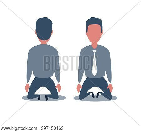 Business Concept Illustration Of A Businessman Kneel Down. Rear View. Business Fall Concept Illustra