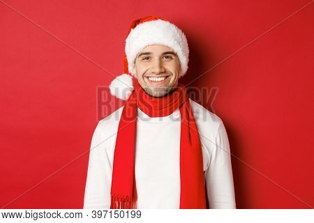 Concept Of Winter Holidays, Christmas And Lifestyle. Close-up Of Handsome Man With Bristle, Wearing