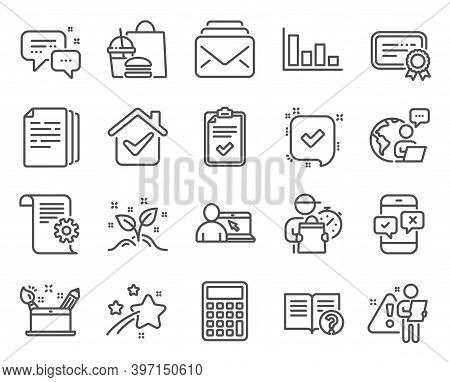 Education Icons Set. Included Icon As Certificate, Copy Documents, Phone Survey Signs. Creativity Co