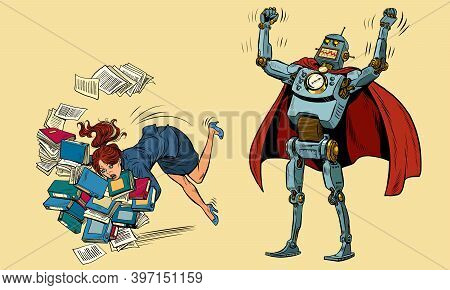 The Robot Wins The Businesswoman. Technology And Humanity. Pop Art Retro Illustration Kitsch Vintage