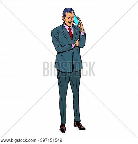 Businessman Speaks On A Mobile Phone. Pop Art Retro Illustration Kitsch Vintage 50s 60s Style