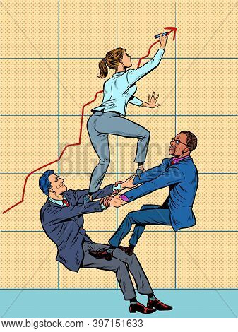 Team Work. A Male And Female Businessman Increase The Company Growth Schedule. White And Black Emplo