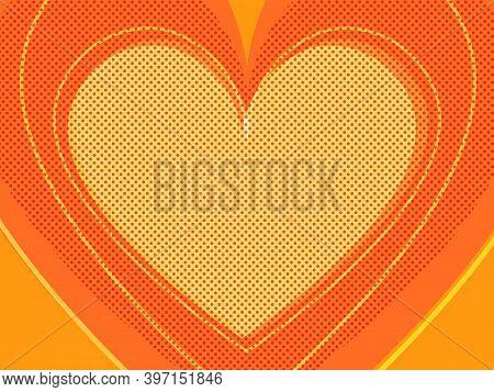 Orange Valentine Heart. Symbol Of Love. Pop Art Retro Illustration Kitsch Vintage 50s 60s Style