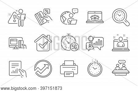 Best Manager, Online Delivery And Employees Talk Line Icons Set. Time Management, Time And Document