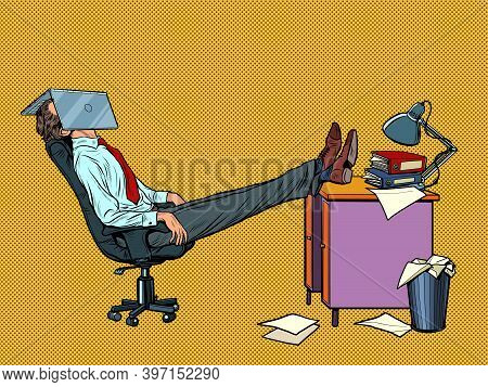 Office Worker Manager Resting In A Work Chair. Fatigue. Pop Art Retro Illustration Kitsch Vintage 50