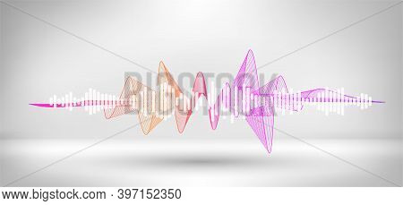 Amplitude Sound Wave. Abstract Soundtrack Wave Energy Background Or Digital Music Beat Tracking. Mus