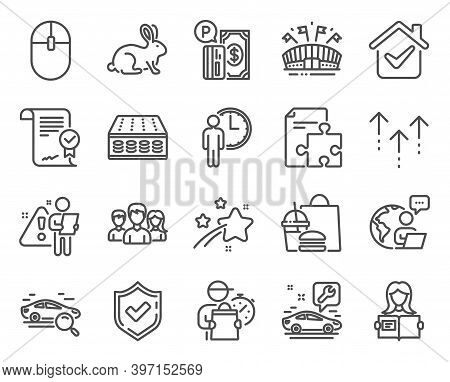 Business Icons Set. Included Icon As Sports Arena, Search Car, Teamwork Signs. Approved Agreement, M