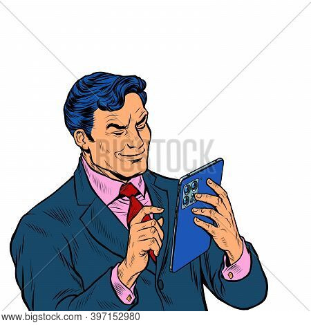 Stylish Businessman Looks At A Modern Gadget Tablet, Works With A Touchscreen. Pop Art Retro Illustr