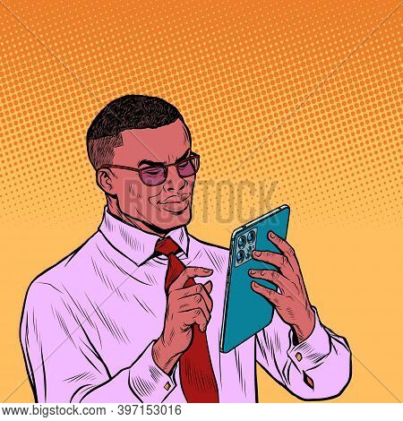 Black African Businessman With New Tablet. Pop Art Retro Illustration Vintage Kitsch 50s 60s Style