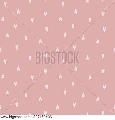 Cute Seamless Pattern With Repeated Hearts. Trendy Texture With A Jumble Of Hearts. Flat Design Endl