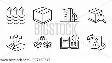 Delivery Box, Instruction Info And Search Package Line Icons Set. Parcel Shipping, Consolidation And