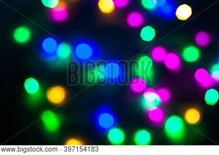 Abstract Beautiful Christmas New Year Garland Multicolored Neon Ights Close Up Blurred Bokeh Festive