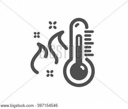 High Thermometer Icon. Temperature Diagnostic Sign. Fever Measuring Symbol. Quality Design Element.
