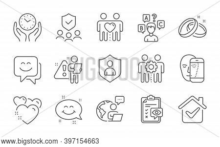 Wedding Rings, Quiz Test And Employees Teamwork Line Icons Set. Face Biometrics, Heart And Smile Fac