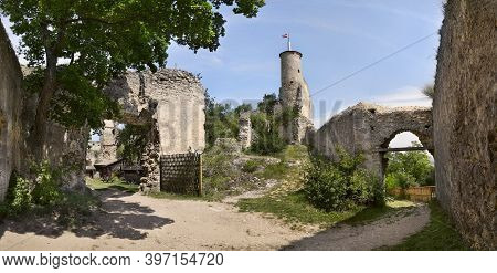 View Of The Ruins Of The Medieval Castle Falkenstein, Austria
