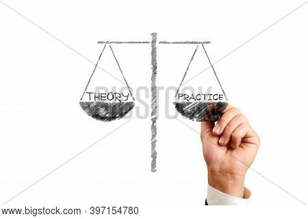 Theory Practice. Businessman Draws Scales, The Words Theory Practice