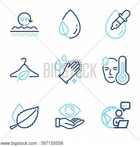 Healthcare Icons Set. Included Icon As Eye Drops, Mint Leaves, Uv Protection Signs. Washing Hands, F