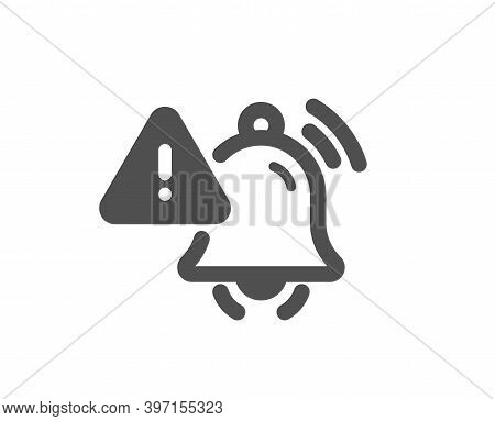 Attention Bell Icon. Alarm Reminder Sign. Notification Message Symbol. Quality Design Element. Flat