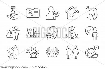 Identity Confirmed, Head And Employee Line Icons Set. Verification Person, Safe Time And Cleaning Se