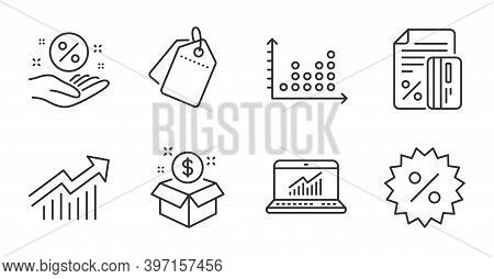 Dot Plot, Demand Curve And Loan Percent Line Icons Set. Sale Tags, Post Package And Discount Signs.