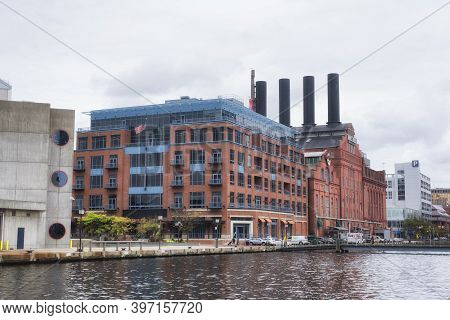 Balitmore, Maryland. September 30, 2019. The Back Of The Historic Powerplant In The Inner Harbor Are