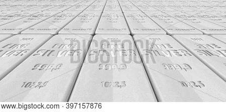 The Highest Standard Silver Bars. The Background. A Lot Of Ingots Of 999.9 Fine Silver Lie In A Row