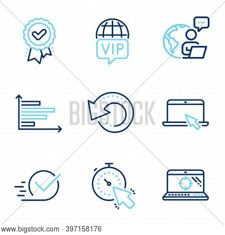 Technology Icons Set. Included Icon As Recovery Data, Approved Award, Checkbox Signs. Vip Internet,